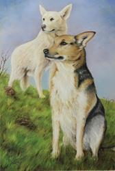 Art: GINGER AND SADIE by Artist Patricia Lintner