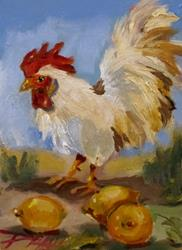 Art: Rooster and Lemons by Artist Delilah Smith