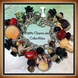Art: Witches Den, Altered art charm bracelet by Artist Lisa  Wiktorek