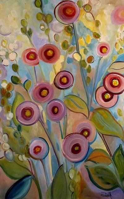 Art: Hollyhocks by Artist Delilah Smith