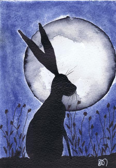 Art: NIGHT HARE h3079 by Artist Dawn Barker