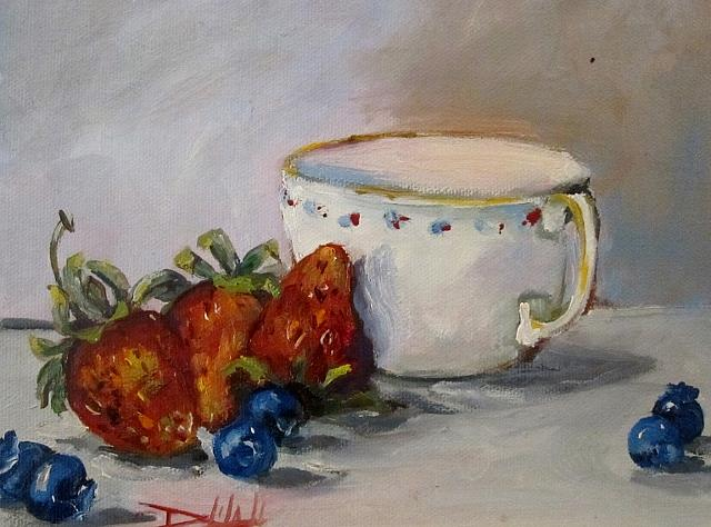 Art: Berries and Cup by Artist Delilah Smith