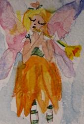 Art: Fairy with a Flower Flute-sold by Artist Delilah Smith