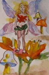 Art: Fairies on Flower by Artist Delilah Smith