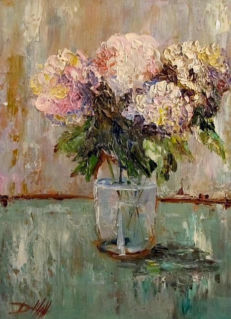 Art: Hydrangeas in a Fruit Jar by Artist Delilah Smith
