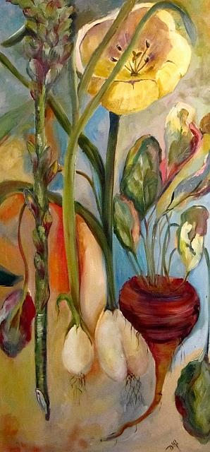 Art: Tulip and Roots by Artist Delilah Smith
