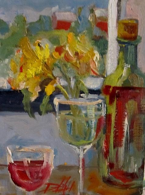Art: Daffodils and Wine by Artist Delilah Smith