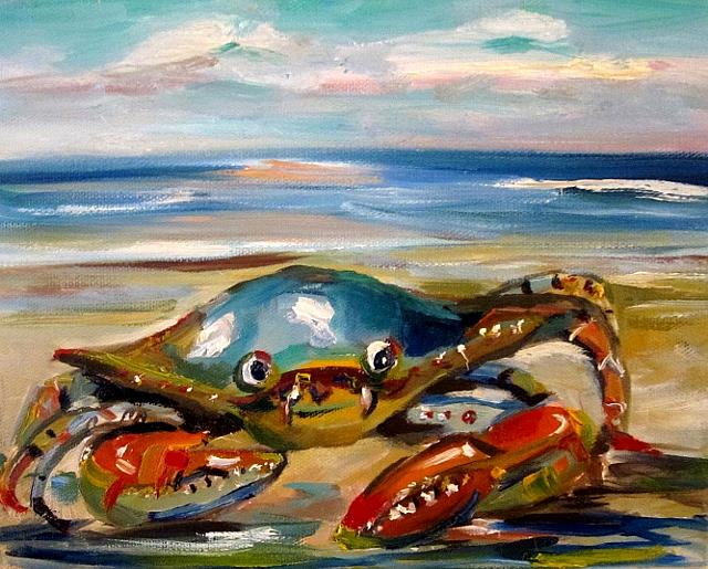 Art: Crabby Billy on the Beach by Artist Delilah Smith