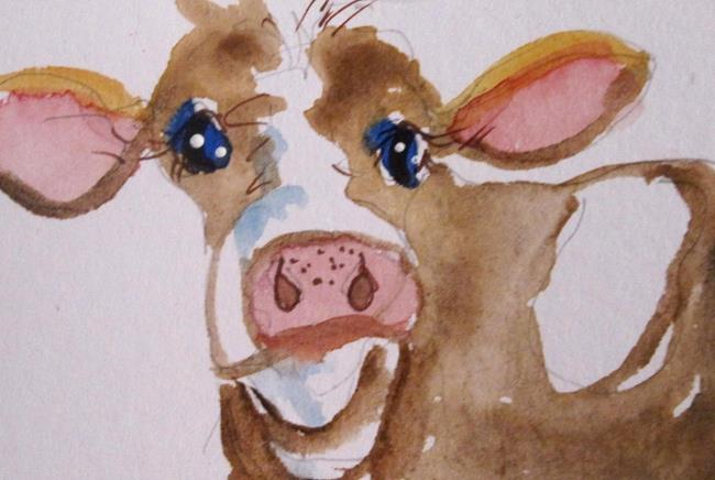 Art: Aceo Cow by Artist Delilah Smith