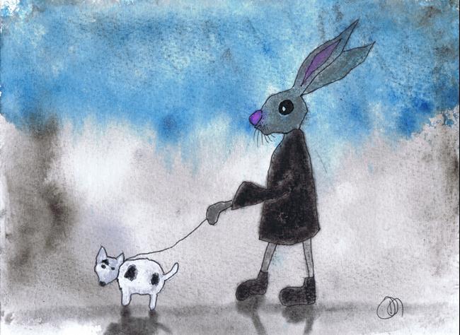 Art: HARE & DOG h3082 by Artist Dawn Barker
