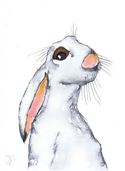 Art: THINKING HARE h3083 by Artist Dawn Barker