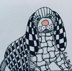 Art: Dog - Zentangle Inspired by Artist Ulrike 'Ricky' Martin