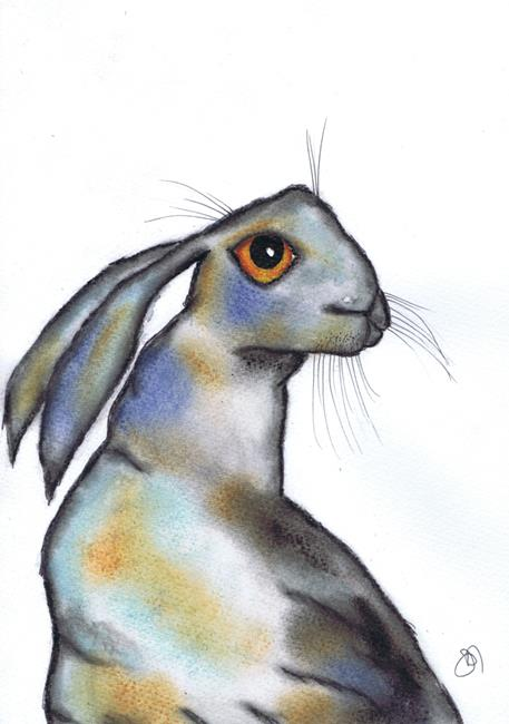 Art: THINKING HARE h3085 by Artist Dawn Barker
