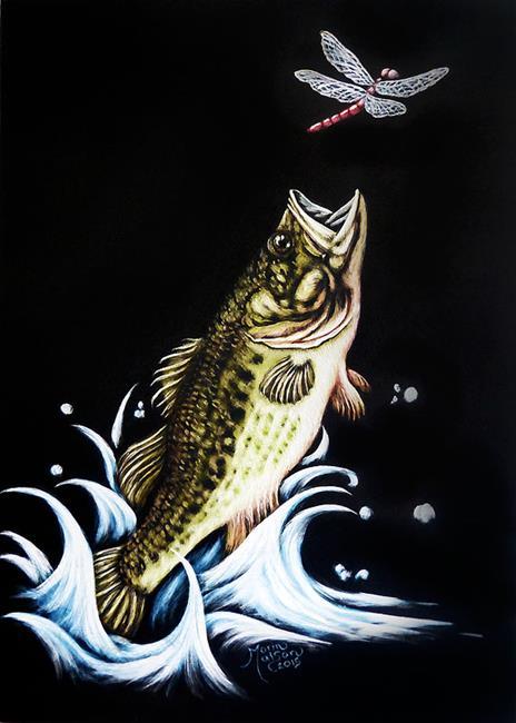 Art: Dragonfly & Bass  (SOLD) by Artist Monique Morin Matson