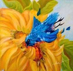 Art: Dive bombin' Sunflowers by Artist Alma Lee