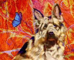 Art: Dog and Butterfly by Artist Alma Lee