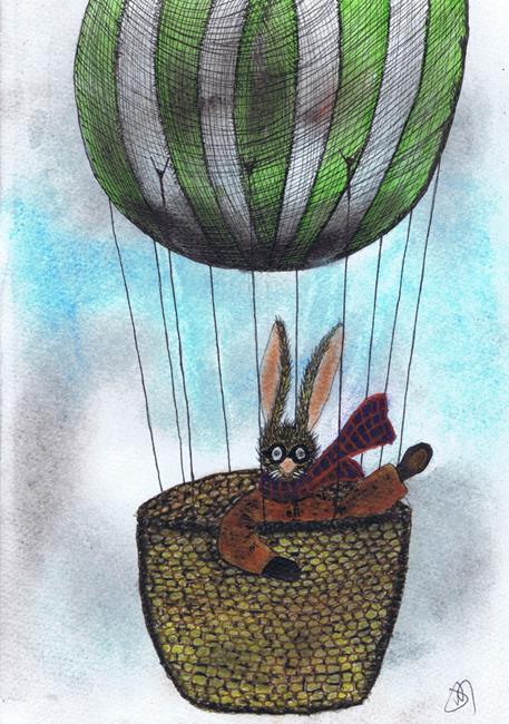Art: BALLOONING HARE h3087 by Artist Dawn Barker