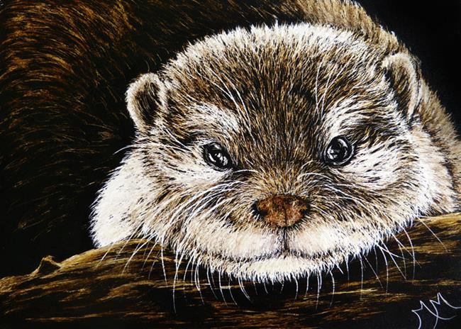 Art: Otter  (SOLD) by Artist Monique Morin Matson