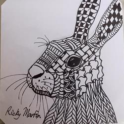 Art: Zentangle Inspired Bunny by Artist Ulrike 'Ricky' Martin