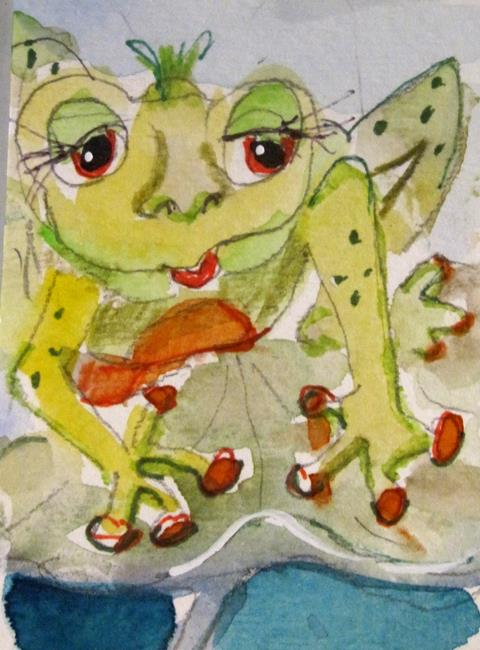 Art: Frog on Lily Pad by Artist Delilah Smith