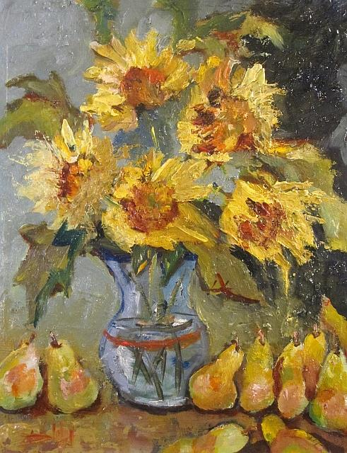 Art: VanGogh Sunflowers and Pears by Artist Delilah Smith