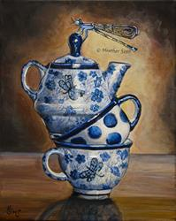 Art: Dragonflies: Polish Pottery XCII by Artist Heather Sims