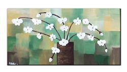 Art: ABSTRACT WHITE FLOWERS by Artist Kate Challinor