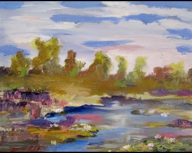 Art: Marsh with Purple Loosesstrife by Artist Delilah Smith