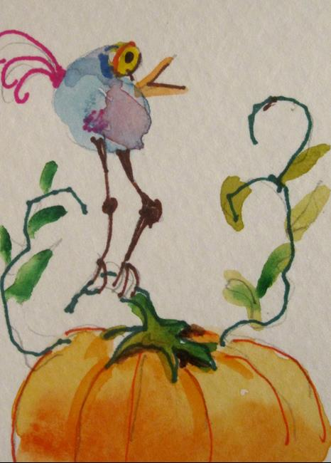 Art: Bird and Pumpkin-sold by Artist Delilah Smith