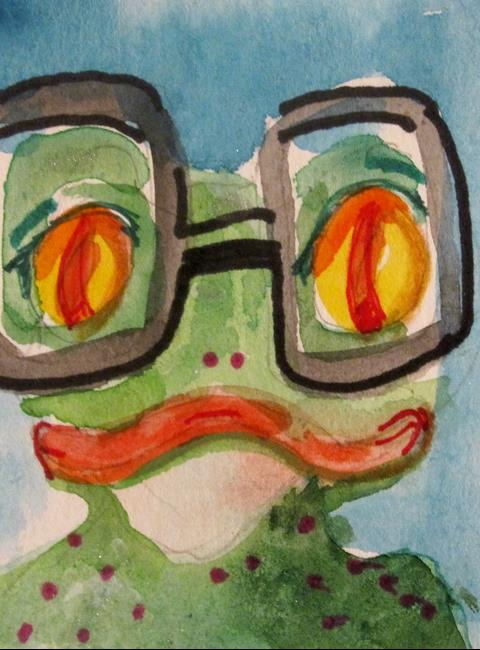 Art: Frog and Swim Google by Artist Delilah Smith