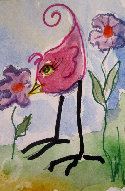 Art: Long Legged Pink Bird-sold by Artist Delilah Smith