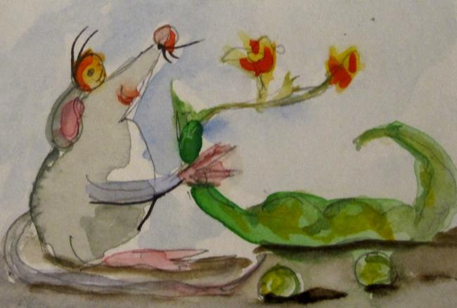 Art: Mouse and Green Bean by Artist Delilah Smith