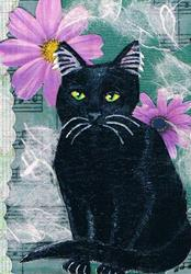 Art: Black Daisy Cat by Artist Kimberly Anne Bailey