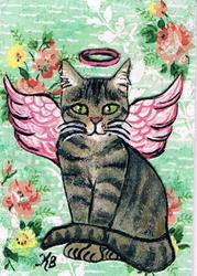 Art: Tiny Kitty Angel Card by Artist Kimberly Anne Bailey