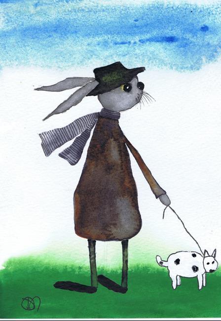 Art: WALKING THE DOG h3089 by Artist Dawn Barker