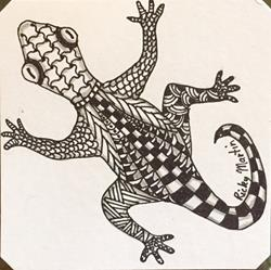 Art: Lizard Zentangle Inspired Art by Artist Ulrike 'Ricky' Martin