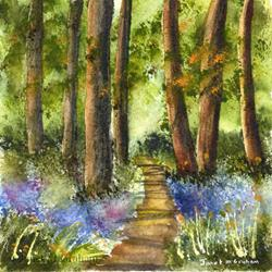 Art: Bluebell Pathway by Artist Janet M Graham