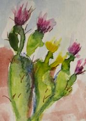 Art: Cactus with Purple Flowers by Artist Delilah Smith