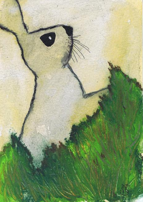 Art: RABBIT IN GRASS h3091 by Artist Dawn Barker
