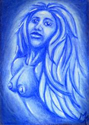 Art: Blue Ghost Woman  (SOLD) by Artist Monique Morin Matson