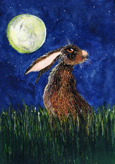 Art: HARE IN GRASS h3092 by Artist Dawn Barker