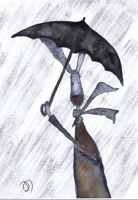 Art: A WALK IN THE RAIN hare h3096 by Artist Dawn Barker