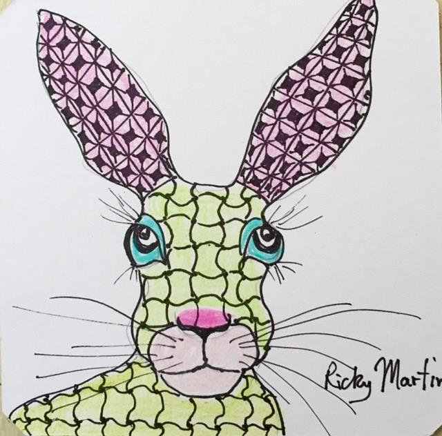 Art: Zentangle Inspired Hare by Artist Ulrike 'Ricky' Martin
