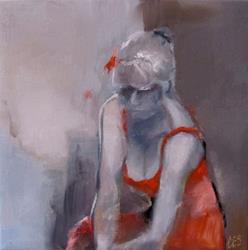Art: Contemplation in Red by Artist Christine E. S. Code ~CES~