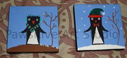 Art: Winter and Fall Penguins by Artist Rachel Allen