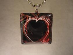 Art: Red Heart Pendant by Artist Rachel Allen