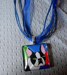 Art: Boston Terrier Pendant by Artist Rachel Allen