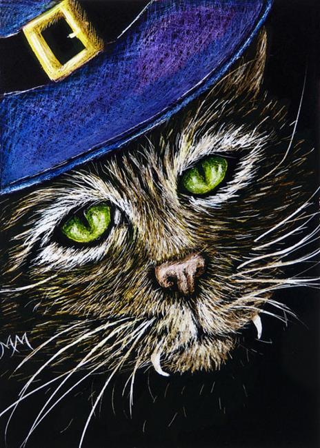 Art: Cat Witch Vampire  (SOLD) by Artist Monique Morin Matson
