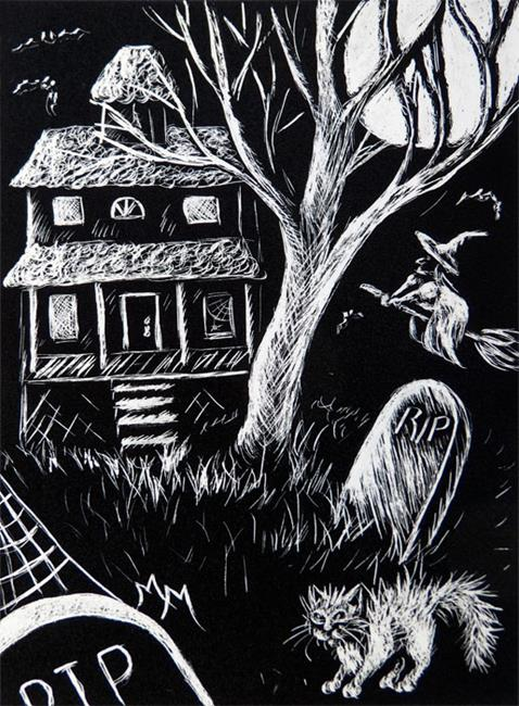 Art: Haunted Witch House  (SOLD) by Artist Monique Morin Matson