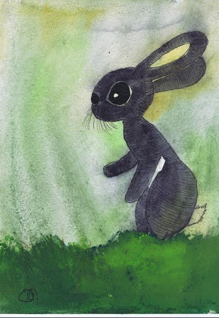 Art: RABBIT IN GRASS h3099 by Artist Dawn Barker